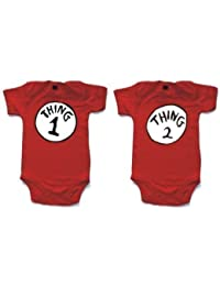 NAUGHTEES clothing - Thing 1 and Thing 2 printed short sleeved babygrow onesie in 4 sizes