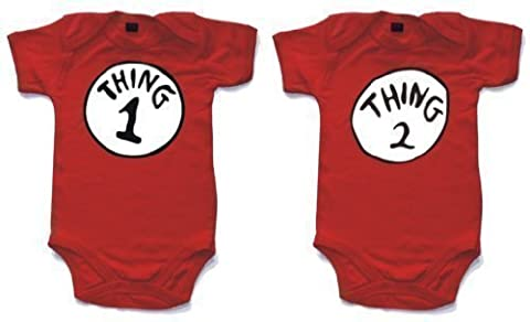 Thing 1 and Thing 2 babygrow onesie white 6-12