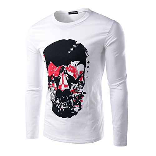 BOMOVO Herren Mode Longsleeve Langarm-T-Shirt Weiß