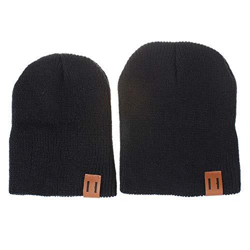 2 Stück Pom Mütze Deckel, Quaan Mama und ich Solide Farbe Häkeln Stricken Winter Warm Hut -