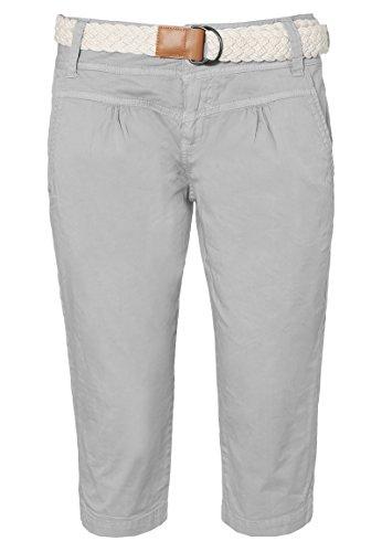 Fresh Made Damen Capri im Chino Design mit Flecht-Gürtel | Elegante Kurze Hose Ideal für Den Sommer Light-Grey S