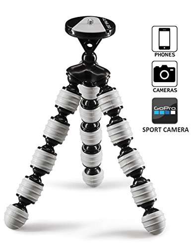 Coolway® 12 Zoll kleine Biene Große Krake-Stativ mit einem Gewicht von bis zu 11 Pfund Super Flexible Gelenke Schnellspanner mit Verschlussring für DSLR Kamera - Schwarz / Weiß