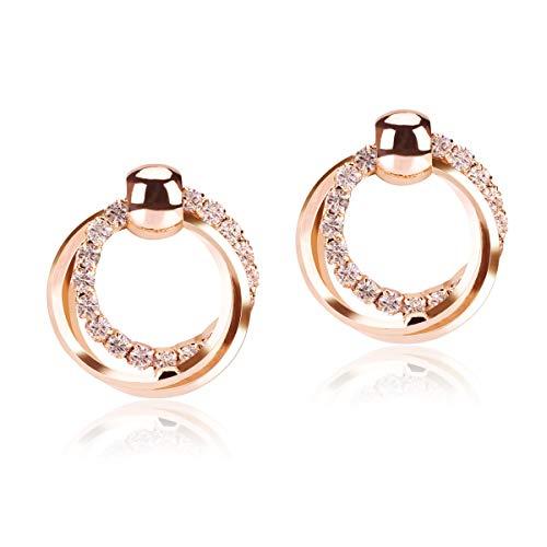 LegendTech 1 Paar Sparkling Diamond Stud Ohrring Kreis-Ohrring mit Luxuriöses Stylish Legierung Galvanisiert Anti-Rost Sicheres Geschenk zum Ohr Dekoration Party Weihnachten Geburtstag Frau Rose Gold