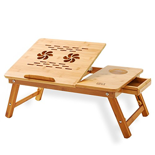 Gizga Multipurpose Natural Bamboo With Twin Cooling Fan Laptop Table Desk, Tray For Study / Reading / Eating / Craft-work (100% Bamboo Wood)