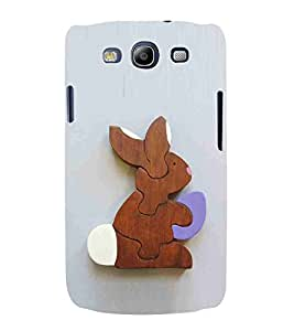 For Samsung Galaxy S3 i9300 :: Samsung I9305 Galaxy S III :: Samsung Galaxy S III LTE wood rabbit ( wood rabbit, rabbit, blue background, cartoon ) Printed Designer Back Case Cover By CHAPLOOS