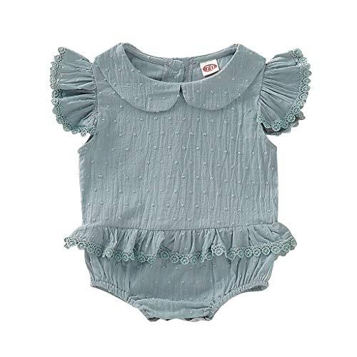 Knowin-baby body Sommer Baby Flying Sleeve Doll Kragen Lace Rüschen Volltonfarbe Folding Dress Neugeborenes Kinder Baby Jungen Kurzarm T-Shirt Kimono Sleeve Baby Doll