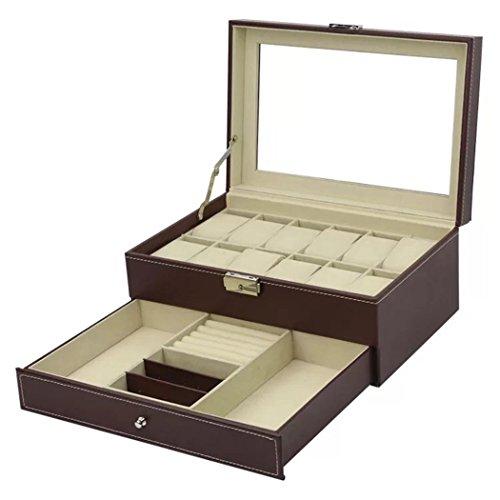 MThomes PU Faux Leder Uhrenbox für 12 Uhren Schmuck Aufbewahrungsbox mit einer Schublade für Armbänder, Ringe und Manschettenknöpfe 356