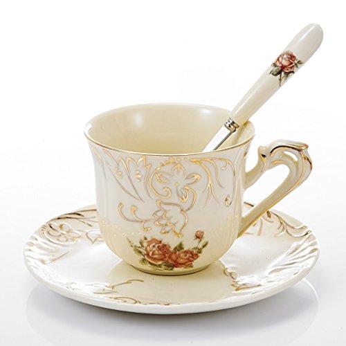 Panbado Porzellan Kaffeetasse 220 ml mit Untertasse und Löffel aus Elfenbein Porzellan,...
