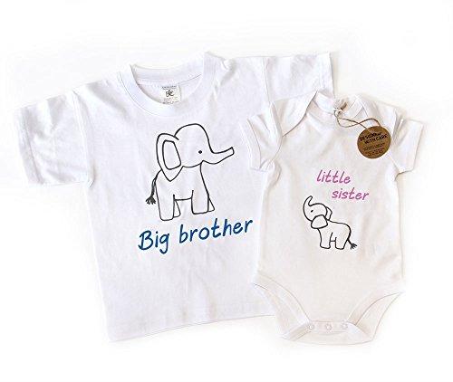 Big Brother Little Sister camiseta a juego y Babygrow con diseño de elefante Talla:3-4yrs - 6-12mths