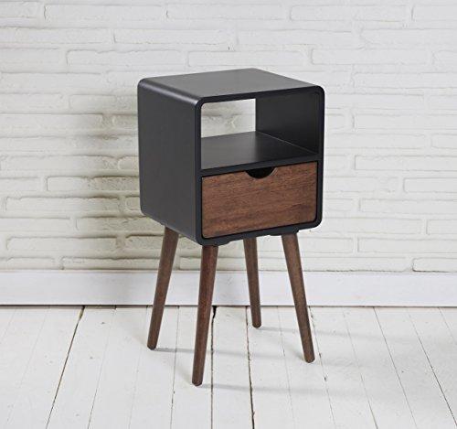 LC GmbH Beistelltisch Telefontisch Konsolentisch Holz schwarz Mokka mit Schublade und Ablage - Mokka-konsole