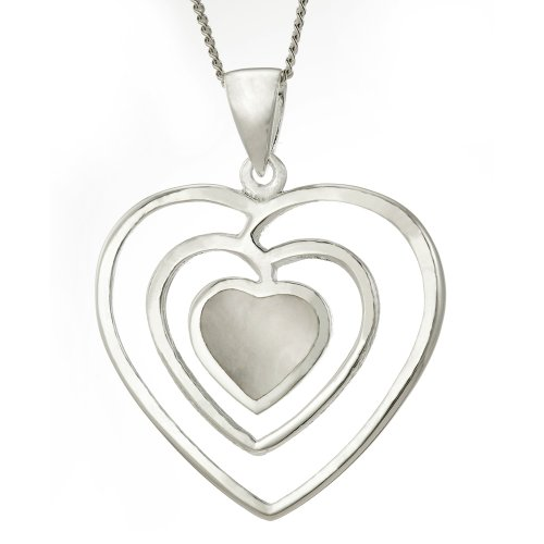 Ornami Ladies' Mother of Pearl 3-Row Heart Pendant Necklace, Silver Curb Chain, 46cm Length, Model B20/SPE2422