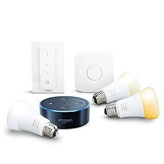 Amazon Echo Dot (2. Generation), Schwarz inkl. Philips Hue White Ambiance E27 LED Lampe Starter Set