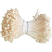 Sharplace 360 Piezas 6cm Cabeza Perla Artificial Doble Cabeza Estambre Pistilo Regalo para Novia Multiusos - Beige