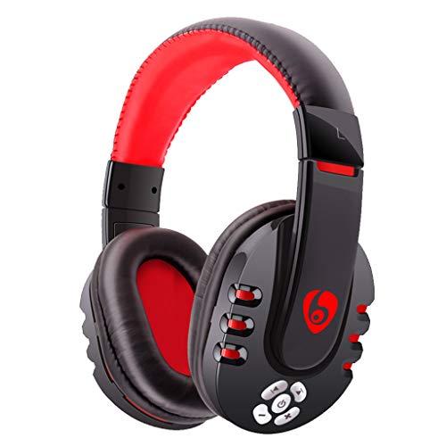 Thepass Bluetooth Kopfhörer, V8 Bluetooth Gaming Headset Kopfhörer mit Mikrofon für PC/Handy/PUBG One-Size rot