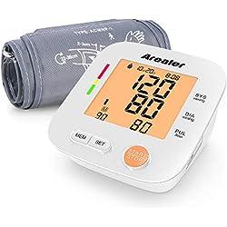 Tensiomètre Électronique Bras, AREALER Professionnel Tensiomètre Numérique Mesure Automatique avec Écran LCD pour Mesure du Tension Artérielle et Rythme Cardiaque, 2 x 90 Mémoire, 4 Piles et un Sac