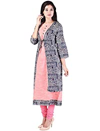 Crazora Women's Cotton Kurti With Printed Jacket