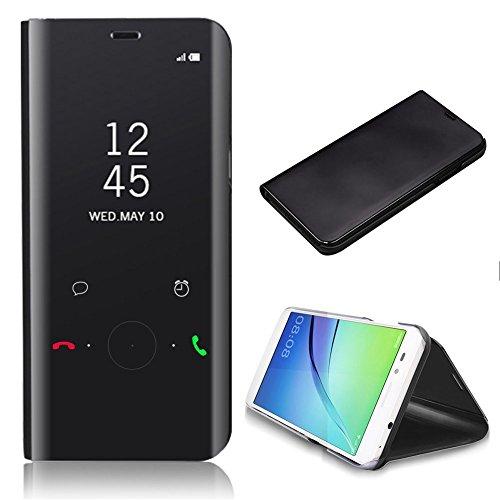 CrazyLemon Smart Spiegel Hülle für Huawei P10 Lite, Aussicht Spiegel Hybrid PU Leder Folio Flip Hülle + PC Back Schlaf Aufwachen Funktion Handytasche für Huawei P10 Lite - Schwarz Leder-flip Folio