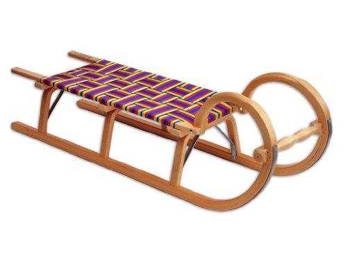 Ress Luge traditionnelle 115cm avec assise tressée, fabrication allemande Laqué Bois naturel
