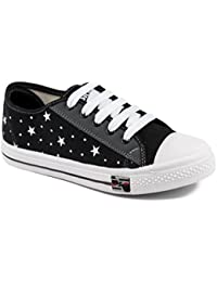 Asian Shoes PARIS 93 Black White Womens Casual Sports shoes