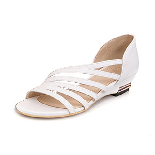 OCHENTA Femme Sandales Laniere Decoupee En PU Mini Talon Chaussure Ete Blanc