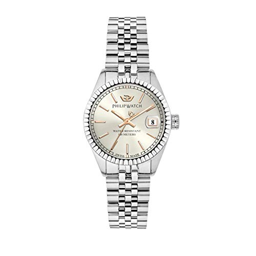 Philip Watch Women's Watch, Caribe Collection, Quartz Movement and Three Hands Version with Date, Equipped with a Stainless Steel Bracelet - R8253597540