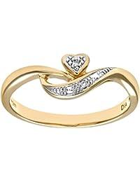 Naava Ladies 9ct Yellow Gold Fancy Diamond Heart Ring