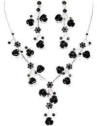 Schmuckanthony Best Seller Hochzeit Brautschmuck Schmuckset Kette Silber Set Ohrringe mit schwarzen Rosen mit Kristall Blumen Grau