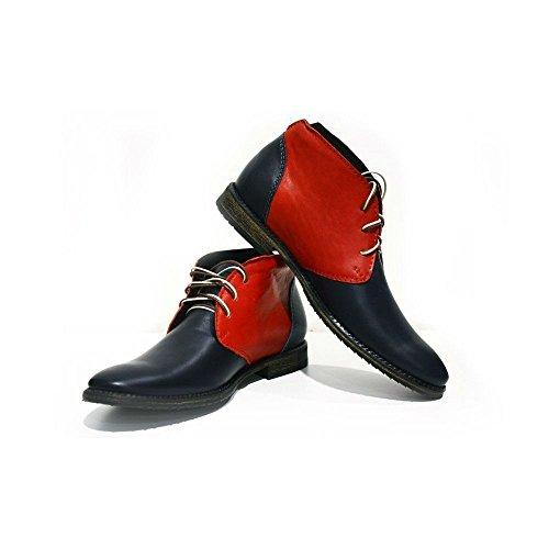 PeppeShoes Modello Bari - 46 - Handgemachtes Italienisch Bunte Herrenschuhe Lederschuhe Herren Mehrfarbig Stiefeletten Chukka Stiefel - Rindsleder Weiches Leder - Schnüren -