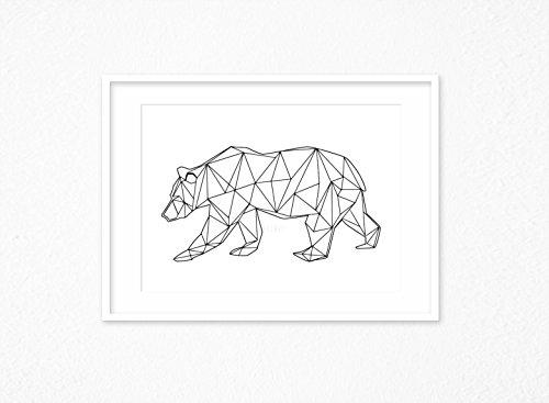 Kunstdruck/Poster BEAR WALK -ungerahmt- geometrisch, Bär, Tier, polygon, skandinavisch, nordisch, Hipster, Linien, abstrakt (Hipster Linien)