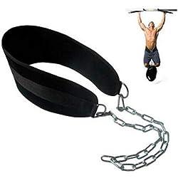 kunfang Cinturon lastre dominadas lastrado Gimnasio con Peso Dominadas musculacion Dip Belt Black Basic