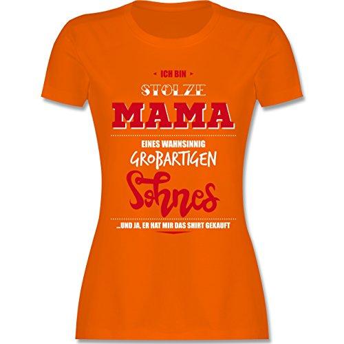 Muttertag - Ich bin stolze Mama eines wahnsinnig großartigen Sohnes - tailliertes Premium T-Shirt mit Rundhalsausschnitt für Damen Orange