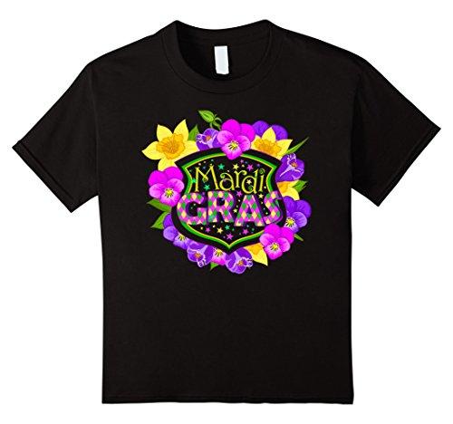 Mardi Gras Ideen Shirt (Mardi Gras - Colorful Mardi Gras Flowers - Gift Idea T-Shirt Kinder, Größe 128)