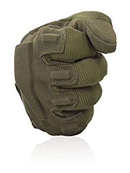 Fuyuanda Shooting Gloves Gloves Full Finger Gloves Hard Knuckle Outdoor Glove For Airsoft Paintball Pistol Hunting Riding Cycling C13 (Olive, Large) 2