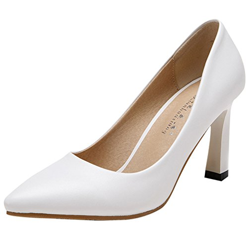 Oasap Women's Low Cut Pointed Toe Slip on Square Heels Pumps White
