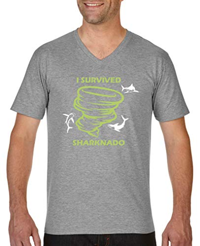 Comedy Shirts - I Survived Sharknado - Herren V-Neck T-Shirt - Graumeliert/Hellgrün-Weiss Gr. M