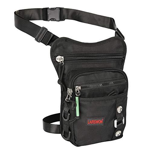 Larswon Tactical Hüfttasche Beintasche Motorrad Tasche für Reisen Radfahren Bergsteigen Sports Outdoor Tasche Schwarz