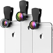 VicTsing 3 iPhone-Objektiv Clip-on, iPhone Kamera Objektiv Kit,180 ° Fisheye Objektiv + 20X Makroobjektiv + 0.36X Weitwinkel-Objektiv für iPhone und Android Smartphones