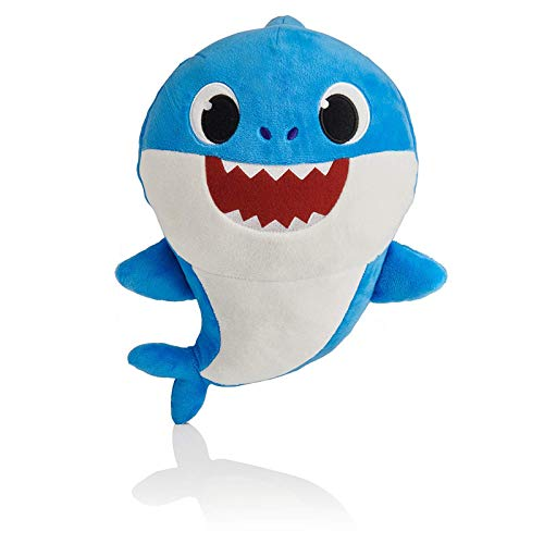 J&K Baby shark singing plush toy with lights Blue Cartoon daddy shark soft stuffed toy English song