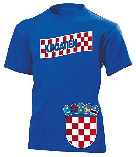 Kroatien Croatia Hrvatska Fan t Shirt Artikel 3196 Fuss Ball Kinder Kids Jungen Mädchen Unisex EM 2020 WM 2022 Trikot Look Flagge Boys Girls 116