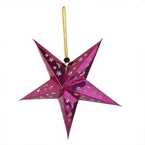 cuteco 1pc 3d láser papel estrella de lámparas de techo dormitorio salón decoración de Navidad hangings colgante, papel, rojo rosado, small