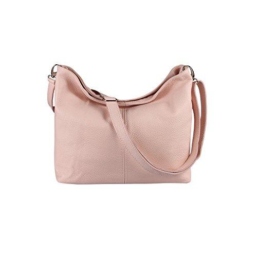 OBC Made in Italy Cuir Véritable Pour Femme Sac Épaule À Bandoulière Messenger Clutch Ipad/Cendrier jusqu'à env. 10 Pouces City Bag env. 36x24x14 cm (LxHxP) - rose, 36x24x14 cm (LxHxP)