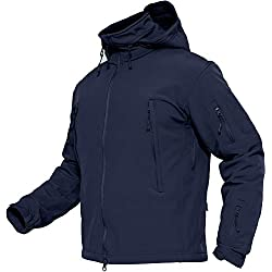 TACVASEN Winter Jacket Men Warm Softshell Jacket Skiing Snowboard Coat Hooded Army Jacket Blue Waterproof Fleece Windbreaker Navy