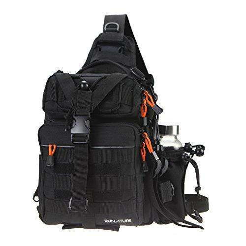 RUNATURE Tactical Sling Bag 1000D Nylon Molle Rucksack Cross Schulterrucksack Kinder Junge Männer Herren Regenhülle Wasserdicht Umhängetasche Militär Taktisch Digital (Lunch-box Molle)