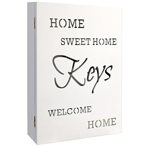 Schlüsselkasten Holzkasten 'HOME SWEET HOME' in Weiss 22x7x32cm mit 6 Schlüsselhaken und Aufbewahrungsnische - Schlüsselbox Schlüsselbrett Schlüsselschrank