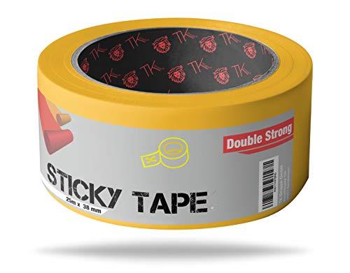 Doppelseitiges Klebeband 25m x 38 mm Spiegelklebeband selbstklebend Doppelklebeband extra stark Teppichklebeband Verlegeband Montageband (25m)