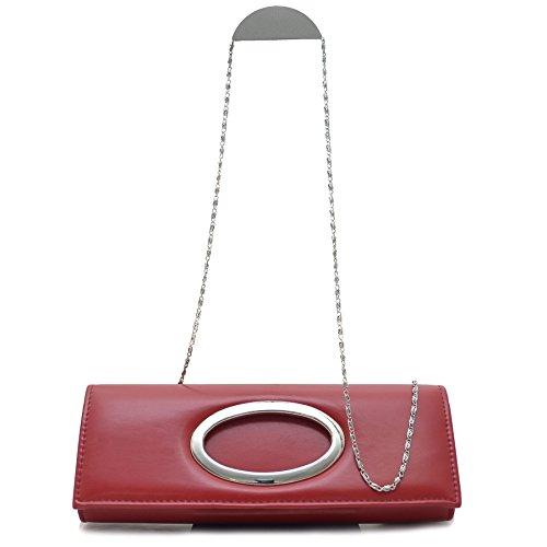 Vain Secrets© Abendtasche Clutch mit Schulterriemen in Rot Marone