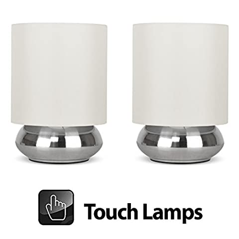 Pair Of - Modern Chrome Touch Table Lamps with Cream Shades