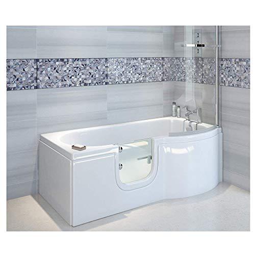 Badewanne mit Tür, Seniorenbadewanne 167,5×85/75x53cm mit Duschkabine,Wannenschürze und Ablauf/Sifon, Ausführung RECHTS