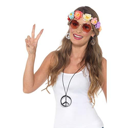 Amakando 60er & 70er Jahre Zubehör-Set / Bestehend aus Blüten-Krone, Sonnenbrille, Halskette & Ohrringe / Genau richtig zu Schlagermove & Karneval (Kostüm Schmuck 1970)
