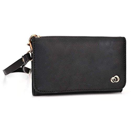 Kroo Pochette en cuir véritable pour téléphone portable pour Blu Life Play X/Studio Mini LTE noir - noir noir - noir